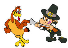 Thanksgiving Turkey And Pilgrim Royalty Free Stock Photos