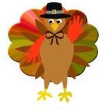 Thanksgiving turkey pilgrim. Friendly thanksgiving turkey in pilgrim hat and bow tie Stock Photography