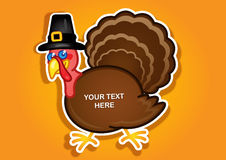 Thanksgiving Turkey Pilgrim label / Sticker in vec. A funny Turkey Character with a Pilgrim at with space for place your message or offer for the Thanksgiving Stock Images