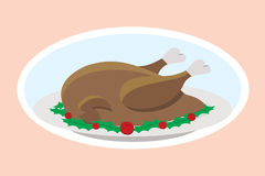 Thanksgiving turkey. On plate, pink background Stock Images