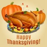 Thanksgiving Turkey on platter with garnish and orange pumpkin Stock Photos