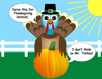 Thanksgiving Turkey and Pumpkin Cartoon Royalty Free Stock Image