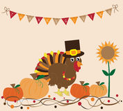 Thanksgiving Turkey and Pumpkins Royalty Free Stock Photo
