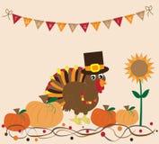 Thanksgiving Turkey and Pumpkins Royalty Free Stock Photo