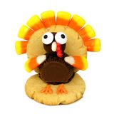 Thanksgiving turkey shaped cookie isolated on white Royalty Free Stock Photo