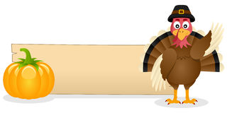 Thanksgiving Turkey Smiling and Banner Royalty Free Stock Photos