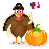 Thanksgiving Turkey USA Flag & Pumpkin Royalty Free Stock Photos