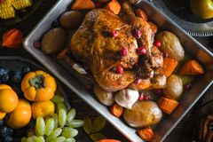 Thanksgiving turkey, vegetables and fruits close-up. Horizontal royalty free stock photography