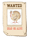 Thanksgiving turkey Wanted funny poster on western paper Royalty Free Stock Photography