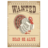 Thanksgiving turkey Wanted poster on old paper Stock Image