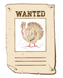 Thanksgiving turkey Wanted poster on western paper Stock Photo