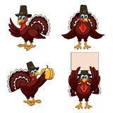Thanksgiving turkeys set Royalty Free Stock Images