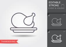 Thanksgiving Turquie Ligne ic?ne avec la course editable avec l'ombre illustration stock