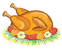 Thanksgiving Turquie. Nourriture de vecteur d'isolement sur le blanc Photos stock