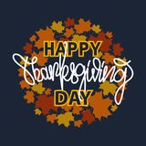 Thanksgiving typography banner. `Happy Thanksgiving` for postcard, Thanksgiving icon or logotype. Lettering with leaves. Thanksgiving typography banner. `Happy Stock Image