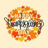 Thanksgiving typography banner. `Happy Thanksgiving` for postcard, Thanksgiving icon or logotype. Lettering with leaves. Thanksgiving typography banner. `Happy Stock Photos
