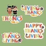 Thanksgiving typography design elements. In this file you will get a couple of variations of Thanksgiving typography design elements with cute kawaii style vector illustration