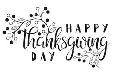 Thanksgiving typography. Happy Thanksgiving Day - Hand painted lettering with floral elements perfect for Thanksgiving Day. Thanksgiving design for cards Stock Photo