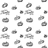 Thanksgiving vector ink seamless background. With hand drawn pumpkins and text royalty free illustration