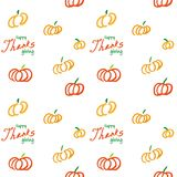 Thanksgiving vector ink seamless background. With hand drawn pumpkins and text stock illustration