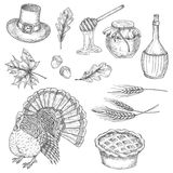 Thanksgiving vector sketch design symbols, icons Royalty Free Stock Image