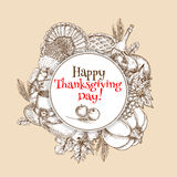 Thanksgiving vector sketch greeting card element Royalty Free Stock Photography