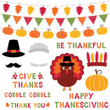 Thanksgiving turkey, photo booth props and decoration set, text in hand lettered font. Thanksgiving vector turkey, photo booth props and decoration set, text in royalty free illustration