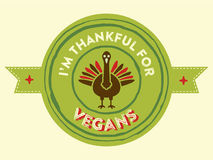 Thanksgiving Vegan badge Royalty Free Stock Photos