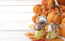 Thanksgiving Vintage Salt And Pepper Shakers On Table With Mini Pumpkins Stock Photos