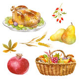 Thanksgiving watercolor clipart Royalty Free Stock Photography
