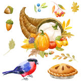 Thanksgiving watercolor clipart Stock Photos