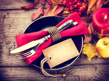 Thanksgiving wooden table served Royalty Free Stock Image