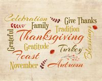 Thanksgiving Word Cloud stock images