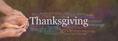 Thanksgiving Word Cloud Website Banner. Female cupped hands cradled by male hands outstretched with a white 'Thanksgiving' word floating above and relevant word