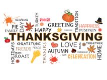 Thanksgiving word in white background. Thanksgiving word concept illustration with icons Royalty Free Stock Photography