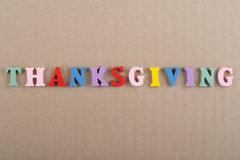 THANKSGIVING word on wooden background composed from colorful abc alphabet block wooden letters, copy space for ad text. Word on wooden background composed from stock photography