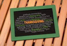 Thanksgiving words collage on Chalkboard.  stock photo
