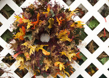 Thanksgiving wreath. A colorful welcome Thanksgiving wreath stock photo