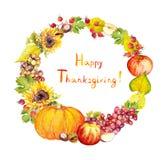 Thanksgiving wreath. Fruits, vegetables - pumpkin, apples, grape, leaves. Watercolor Stock Photos