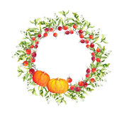 Thanksgiving wreath - pumpkins, berries, autumn leaves. Watercolor round border. B for thanks giving day Royalty Free Stock Photo