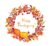 Thanksgiving wreath - pumpkins, berries, autumn leaves. Watercolor round border. For thanks giving day Stock Photo