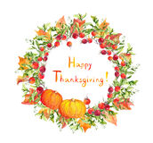 Thanksgiving wreath - pumpkins, berries, autumn leaves. Watercolor round border. Thanksgiving wreath - pumpkins, berries, autumn leaves. Watercolor round for Royalty Free Stock Photos