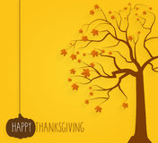 Thanksgiving yellow poster. Tree with maple leaves. Handwritten text Royalty Free Stock Photo