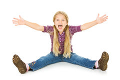 Thanksgiving: Young Girl With Hands Extended And Excited Look Royalty Free Stock Images