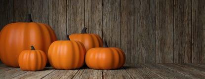 thanksgiving Zucche su fondo di legno rustico, insegna, spazio della copia illustrazione 3D immagini stock libere da diritti