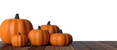 thanksgiving Zucche sulla tavola di legno, fondo bianco, insegna, ritaglio illustrazione 3D immagini stock