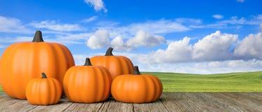 thanksgiving Zucche sulla tavola di legno rustica, fondo del cielo blu, insegna illustrazione 3D fotografia stock