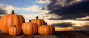 thanksgiving Zucche sulla tavola di legno rustica, fondo del cielo di tramonto, insegna illustrazione 3D fotografia stock
