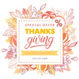 Thanksgivung special offer banner. Hand drawn lettering with leaves in fall colors.Sale season card perfect for prints, flyers,banners, promotion,special offer Stock Image