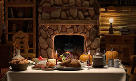 Thanksgving Cabin Dinner Royalty Free Stock Photo